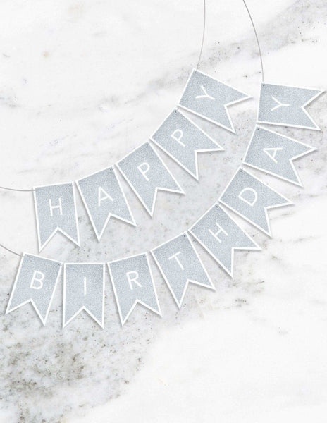 Birthday Banner (Silver), Metallics Party Collection, modern party supplies online