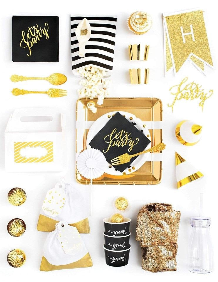Black Gold Party In A Box - FOR KIDS, Elegant Ebony Party Collection, modern party supplies online