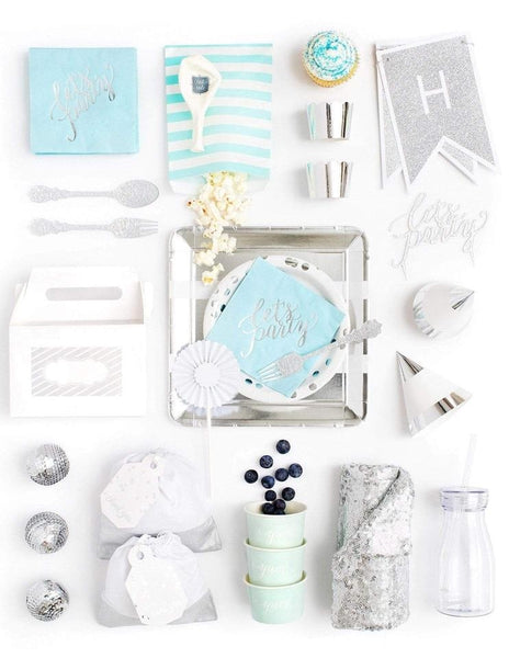 Blue Silver Party In A Box - FOR KIDS, Hues Of Blue Party Collection, modern party supplies online