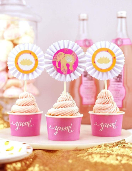 Bollywood Cupcake Toppers, The Colors Of Bollywood Party Collection, modern party supplies online