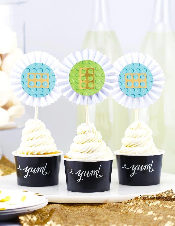 LEGO Cupcake Toppers, Master Builder Party Collection, modern party supplies online