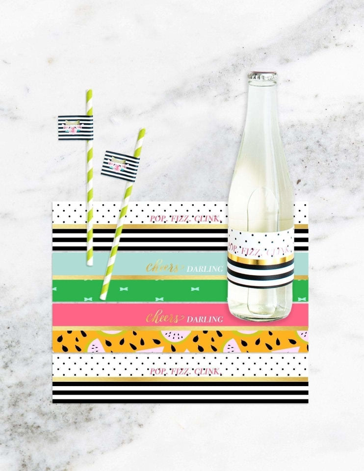 Classic Kate Bottle Labels, Cheers, Darling Party Collection, modern party supplies online