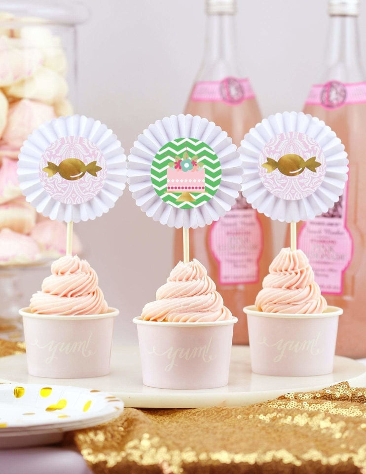First Birthday Cupcake Toppers, As Sweet As Her Party Collection, modern party supplies online