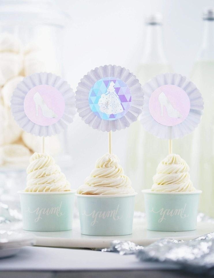 Cinderella Cupcake Toppers, A Girl, A Shoe, A Party Collection, modern party supplies online