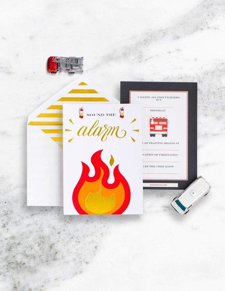 Fire Truck Invitations, Stop, Drop & Roll Party Collection, modern party supplies online