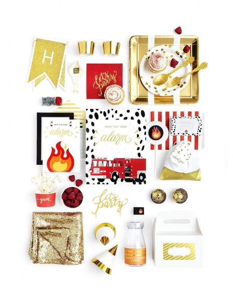 Fire Truck Party In A Box - THE LUXE, Stop, Drop & Roll Party Collection, modern party supplies online