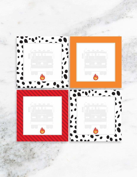 Fire Truck Party Place Cards, Stop, Drop & Roll Party Collection, modern party supplies online