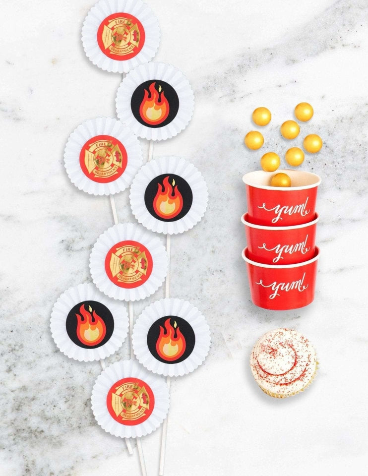 Fire Truck Cupcake Toppers, Stop, Drop & Roll Party Collection, modern party supplies online