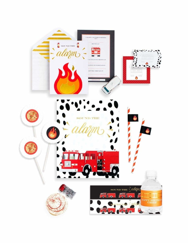 Fire Truck Party In A Box- THE MINI, Stop, Drop & Roll Party Collection, modern party supplies online