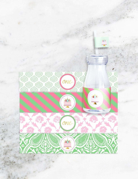 First Birthday Milk Bottle Set, As Sweet As Her Party Collection, modern party supplies online