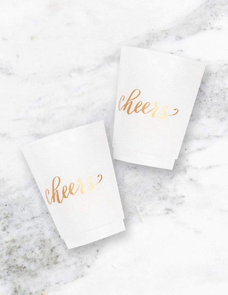 "Frosted Party Cups - ""Cheers"", Metallics Party Collection, modern party supplies online"