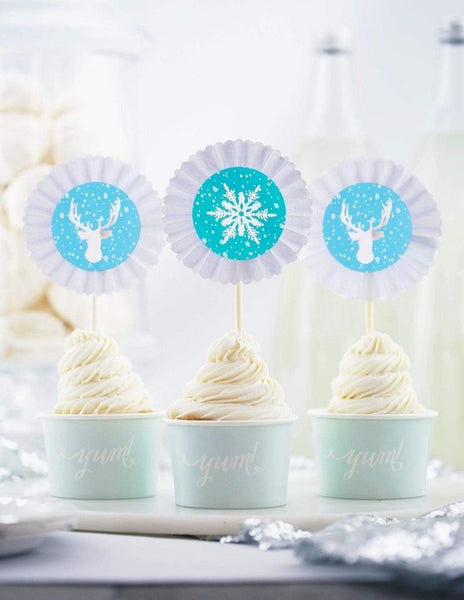 Frozen Cupcake Toppers, The Snow Queen Party Collection, modern party supplies online