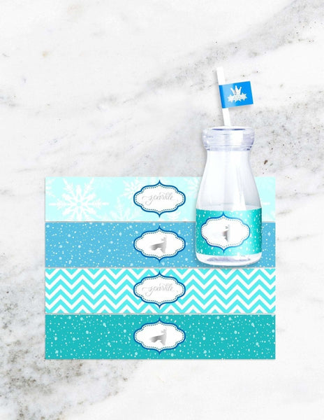 Frozen Milk Bottle Set, The Snow Queen Party Collection, modern party supplies online