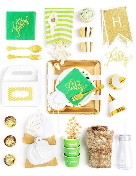Green Gold Party In A Box - FOR KIDS, Emerald Love Party Collection, modern party supplies online