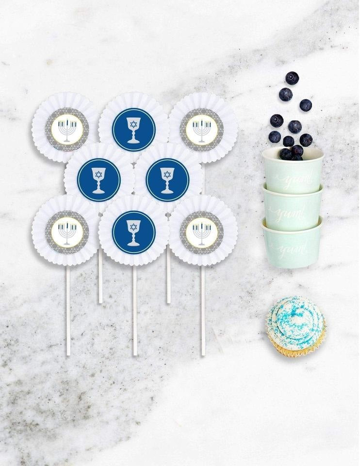 Hanukkah Cupcake Toppers, Holiday Party Collection, modern party supplies online
