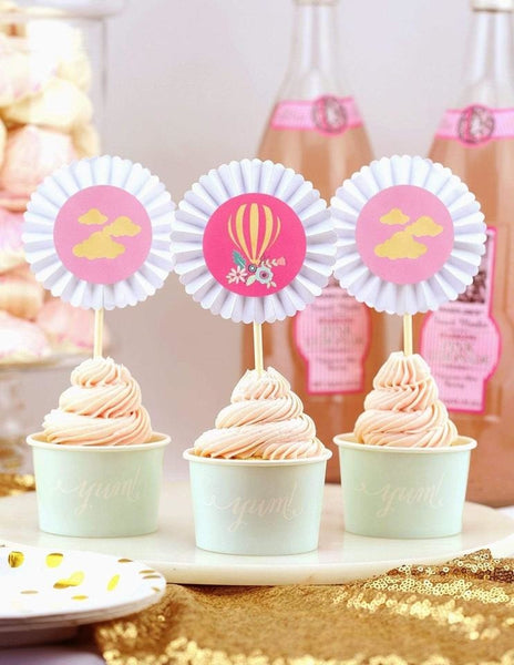 Hot Air Balloon Cupcake Toppers, Dreaming Of Clouds Party Collection, modern party supplies online