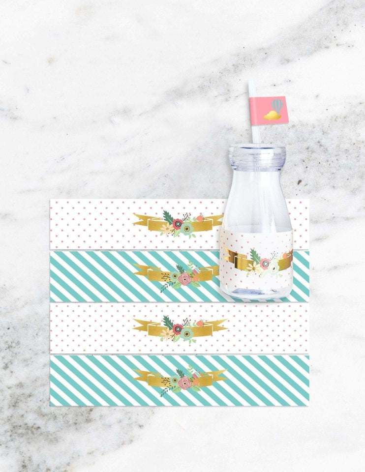 Hot Air Balloon Milk Bottle Set, Dreaming Of Clouds Party Collection, modern party supplies online