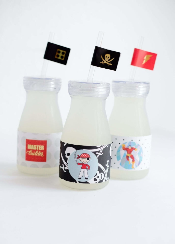 LEGO Milk Bottle Set, Master Builder Party Collection, modern party supplies online
