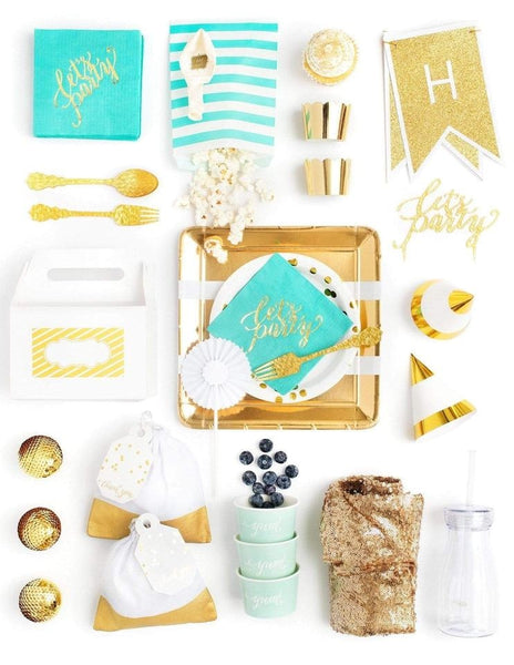 Mint Gold Party In A Box - FOR KIDS, Minty Fresh Party Collection, modern party supplies online