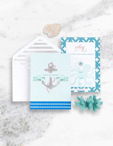 Nautical Baby Shower Invitations, Deep Sea Party Collection, modern party supplies online