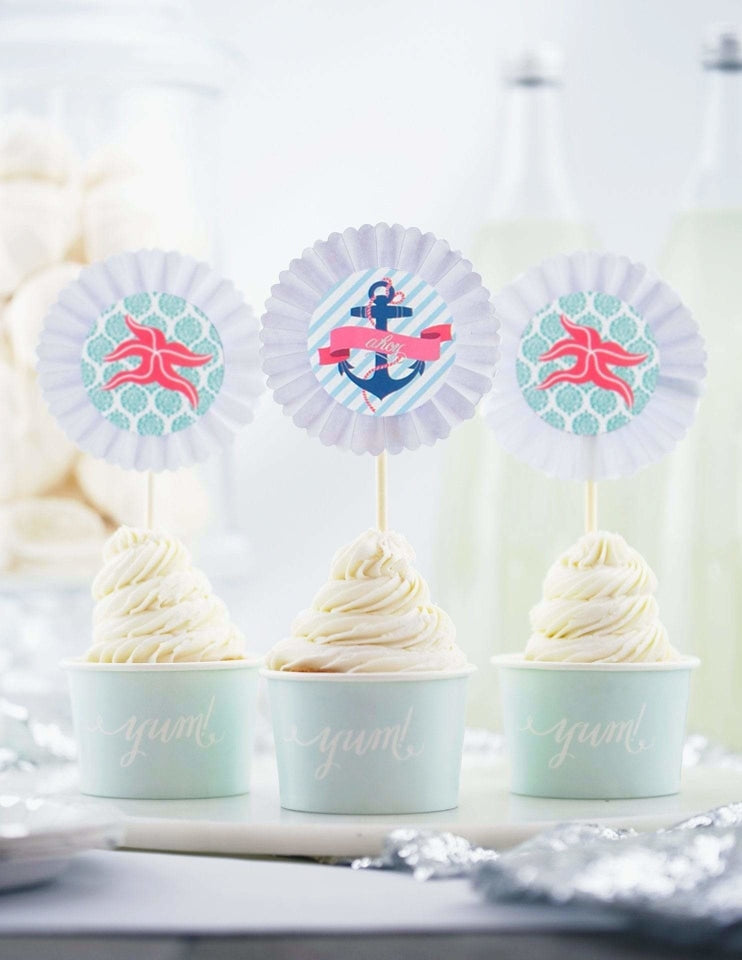 Nautical Cupcake Toppers, Deep Sea Party Collection, modern party supplies online