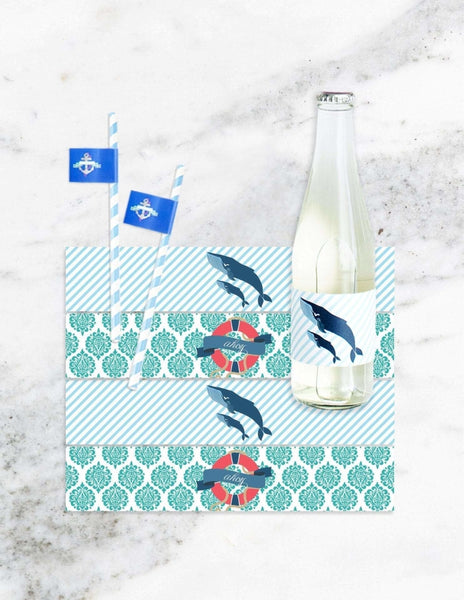 Nautical Party Bottle Labels, Deep Sea Party Collection, modern party supplies online