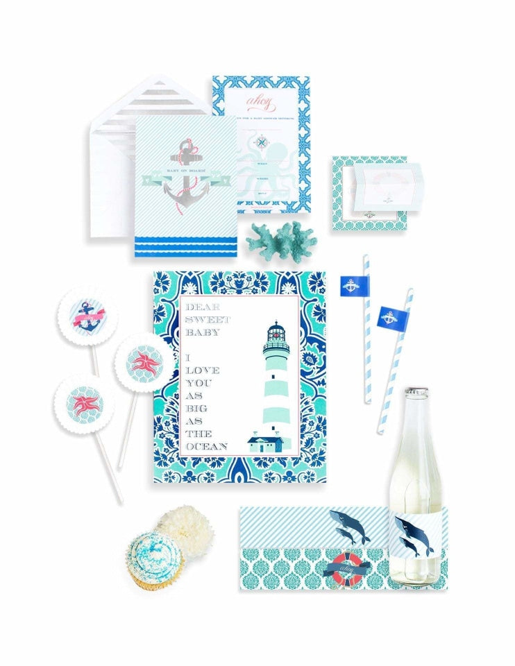 Nautical Baby Shower In A Box- THE MINI, Deep Sea Party Collection, modern party supplies online