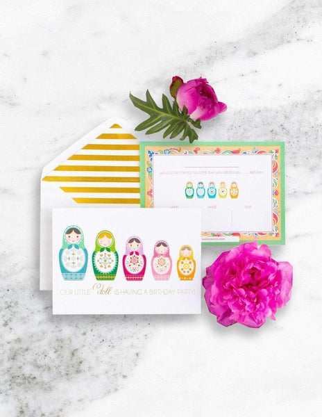 Nesting Doll Party Invitations, Merry Matryoshka Party Collection, modern party supplies online