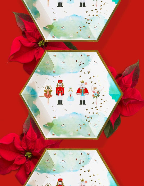 Nutcracker Christmas Paper Plates, Holiday Party Supplies and Decorations