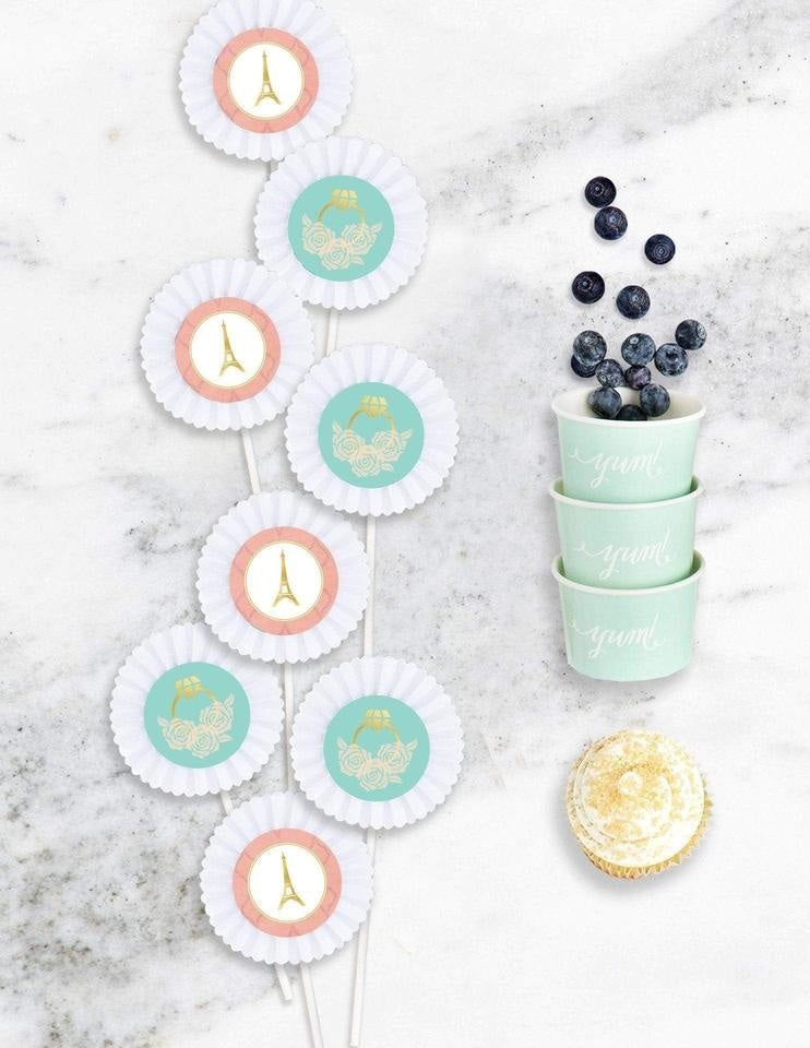 Paris Cupcake Toppers, Oui Party Collection, modern party supplies online