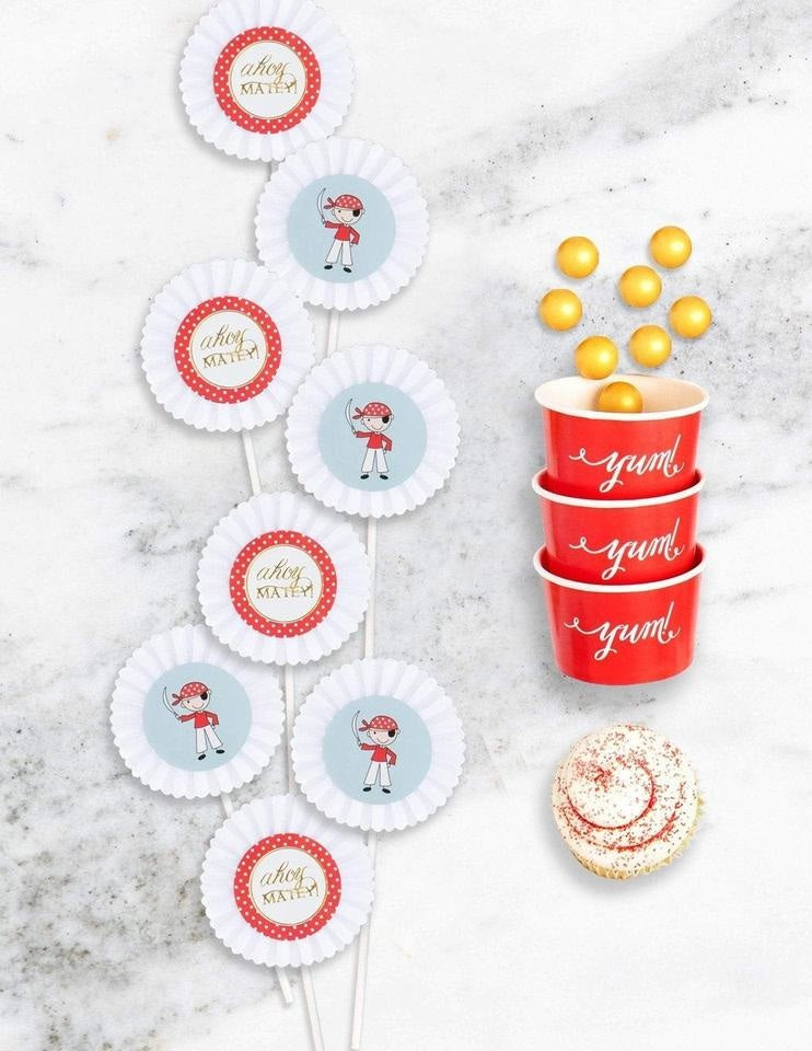 Pirate Cupcake Toppers, Captain Sea Gold Party Collection, modern party supplies online
