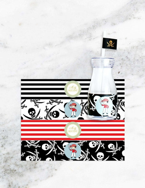 Pirate Milk Bottle Set, Captain Sea Gold Party Collection, modern party supplies online