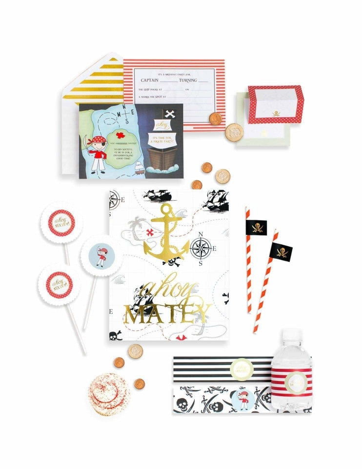 Pirate Party In A Box- THE MINI, Captain Sea Gold Party Collection, modern party supplies online