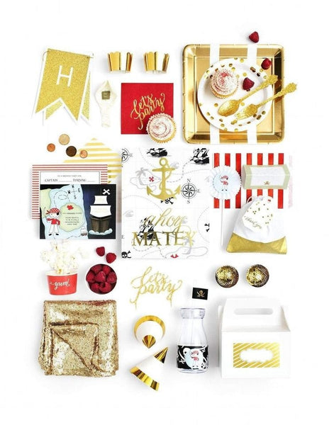 Pirate Party In A Box - THE LUXE, Captain Sea Gold Party Collection, modern party supplies online