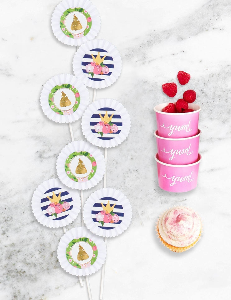 Princess Cupcake Toppers, Beauty & The Beast Collection, modern party supplies online