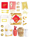 Red Gold Party In A Box - FOR KIDS, Ruby Red Party Collection, modern party supplies online