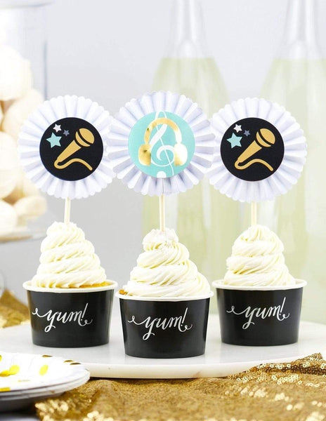 Rockstar Cupcake Toppers, Backstage Pass Party Collection, modern party supplies online