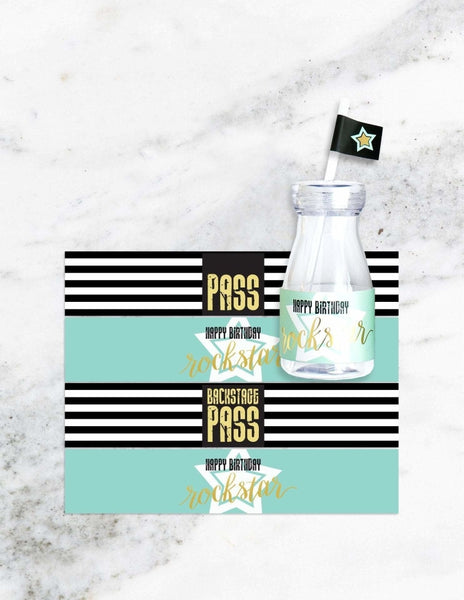 Rockstar Milk Bottle Set, Backstage Pass Party Collection, modern party supplies online