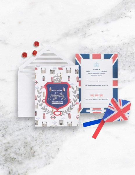 Royal Prince Birthday Party Invitations, London Party Collection, modern party supplies online