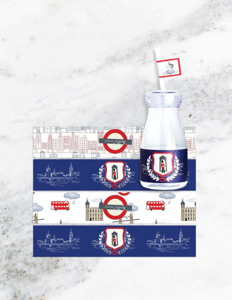 Royal Prince Milk Bottle Set, London Party Collection, modern party supplies online