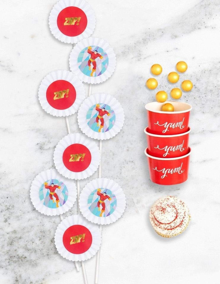 Superhero Cupcake Toppers, Save The Day Party Collection, modern party supplies online