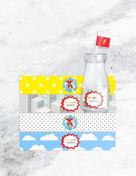 Superhero Milk Bottle Set, Save The Day Party Collection, modern party supplies online
