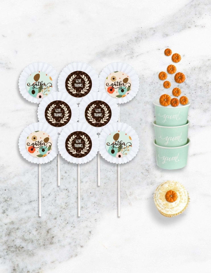 Thanksgiving Cupcake Toppers, Holiday Party Collection, modern party supplies online