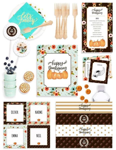 Thanksgiving Table Decor In A Box, Holiday Party Collection, modern party supplies online