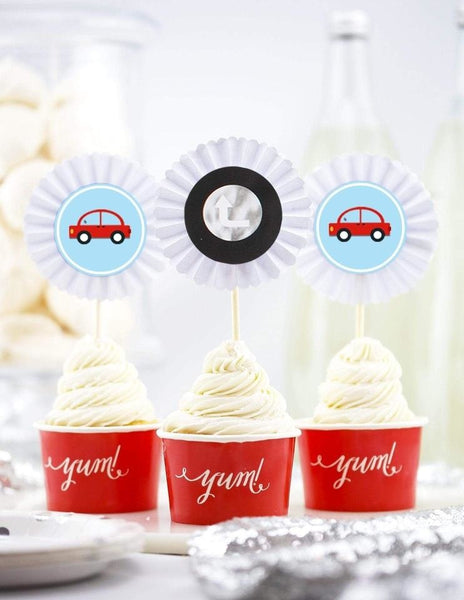 Transportation Cupcake Toppers, Born To Move Party Collection, modern party supplies online
