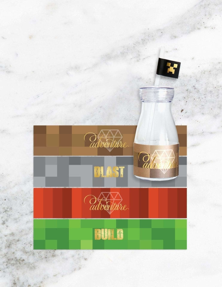 True Gamer Milk Bottle Set, 3D Mining World Party Collection, modern party supplies online