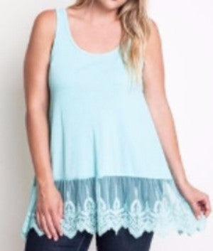 Loose Fit Lace Trimmed Tank