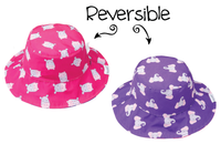 Girls Reversible Floppy Sun Beach Hat Hippo Elephant