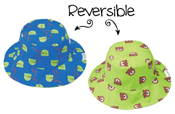 Boys Reversible Floppy Beach Sun Hat Frog and Bear
