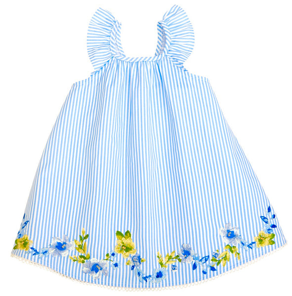 Girls Blue Seersucker Dress with Floral Embroidery